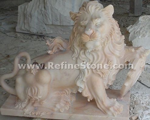 Hand carved lion statues