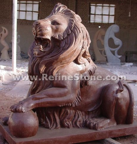 Red marble lion sculpture
