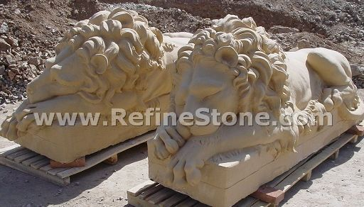 Sleeping lion marble statue