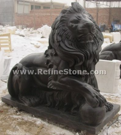 Garden black lion sculpture