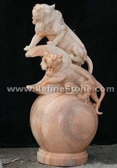 Yellow marble double lion statue