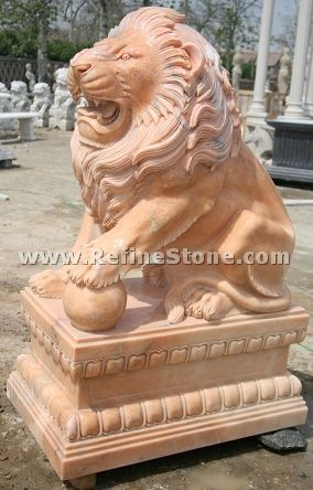 Marble outdoor lion statue