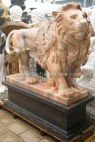 Garden red lion with baby sculpture