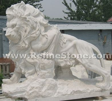 White marble lions carving