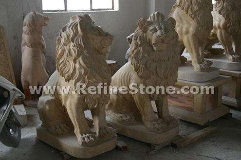 Natural stone lion sculpture
