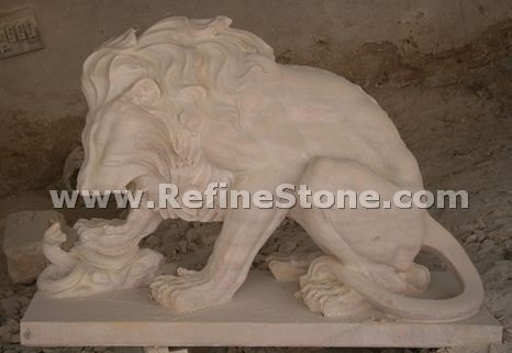 marble lion statue play with snake