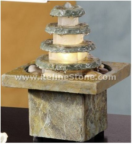 NEW-Square Pyramid Tiered Slate Tabletop Water Fountain Decor Feature