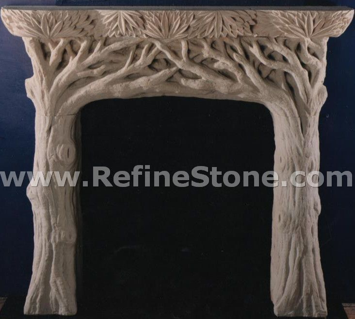 Sandstone Fireplace carved fireplace and fireplace surrounds,tree shaped sandstone